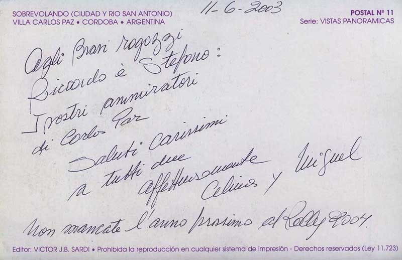 Letter from Celina y Miguel to Riccardo Errani and Stefano Casadio